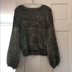 EUC Leith Metallic Gold Fluffy Sweater